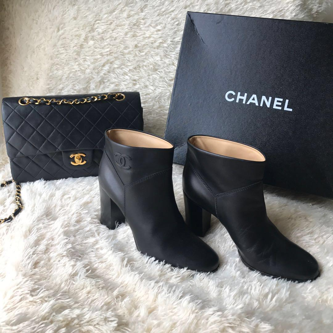CHANEL Classic Black Ankle Booties 38.5