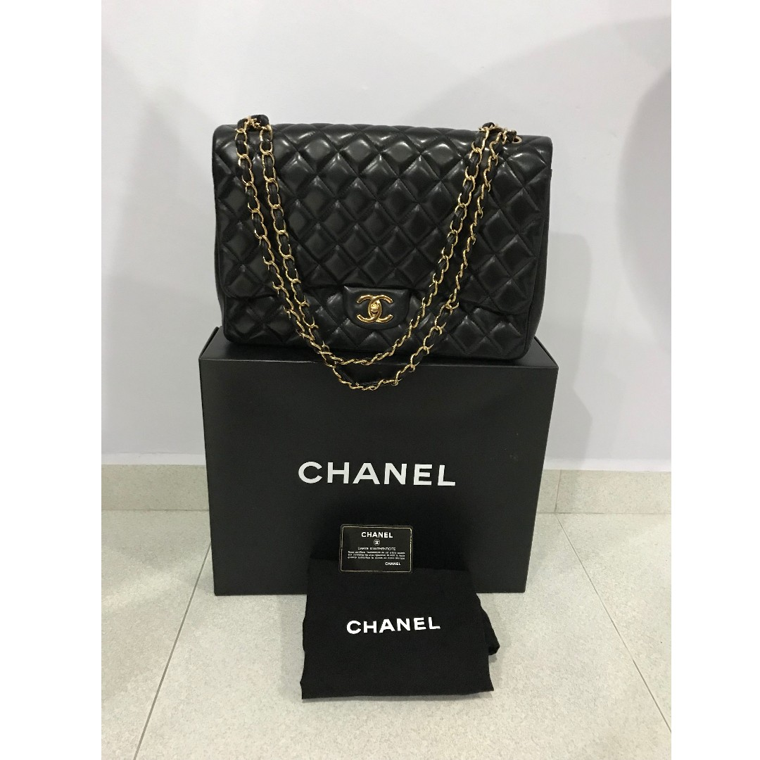 87852f04fbab2d Chanel Classic Flap Bag Maxi Lambskin, Luxury, Bags & Wallets, Handbags on  Carousell