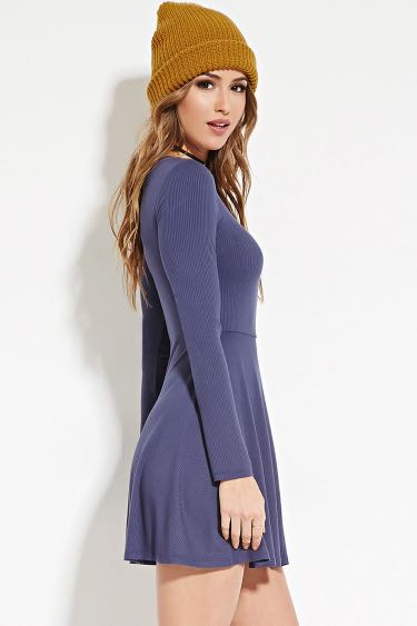 Forever 21 Ribbed Knit Skater Dress 2e25a39e0