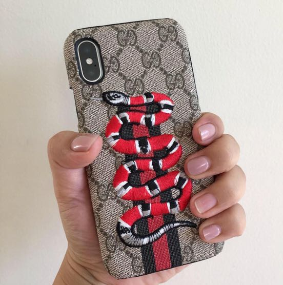 best website 7f6c8 c434f iPhone X Case Gucci Snake Embroidery