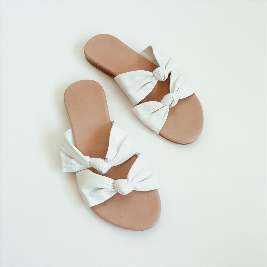 Knotted Slide Sandals | Leather Knot