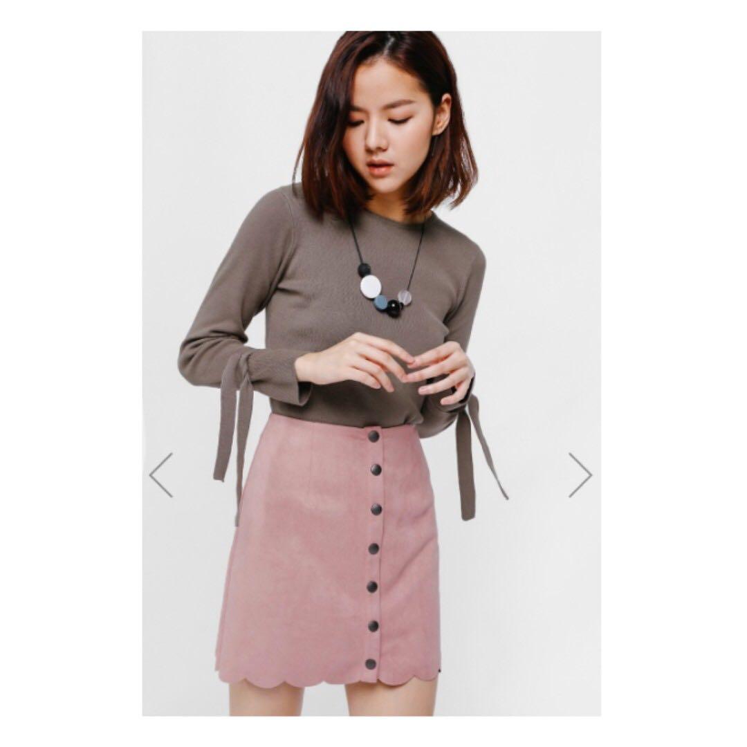 LB Sadriana button front scallop hem suede skirt (Blush e39576fe55