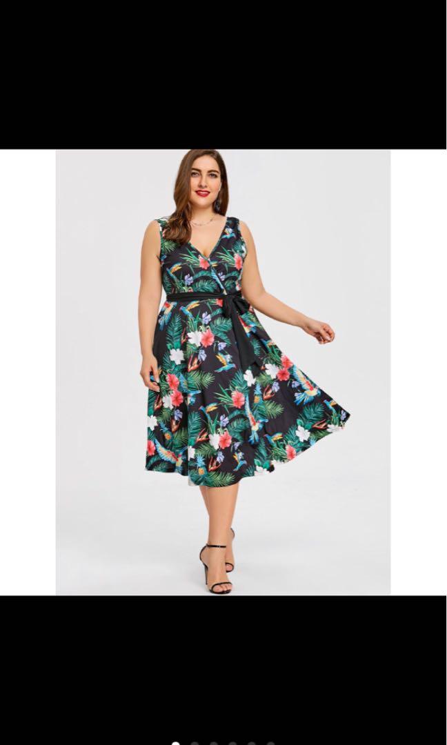 9ef2820dc828bd PLUS SIZE Hawaiian Leaf Midi Dress, Women's Fashion, Clothes ...