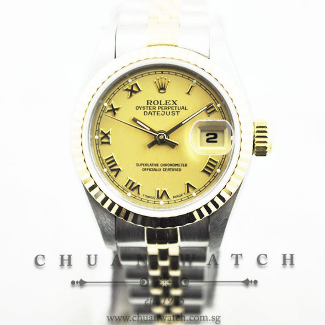 17ae36e4ed3f0 Pre-Owned Rolex Ladies  DateJust 26mm 69173 Champagne Roman ...