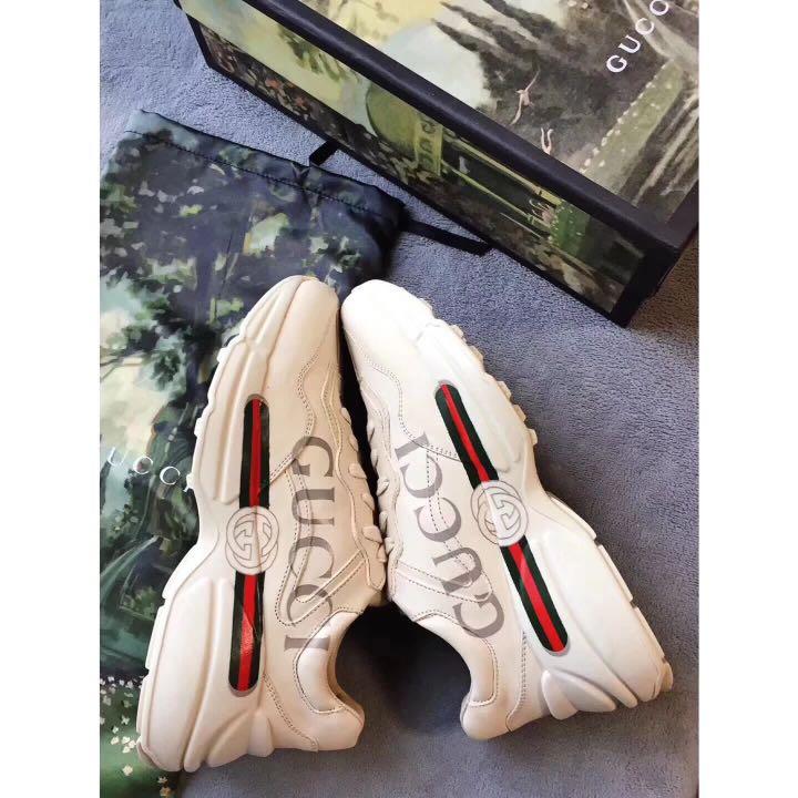 c0137574cac Rhyton Gucci logo leather sneaker