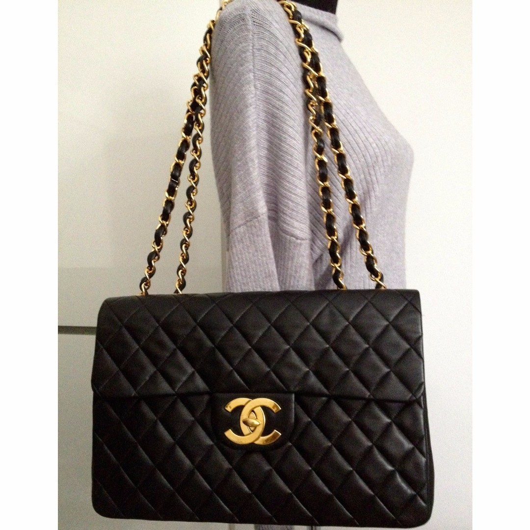 f94b463abed1 SOLD - 100% CHANEL Classic Black Lambskin 24K Gold Chain Maxi Jumbo XL 2.55  Flap Bag, Women's Fashion, Bags & Wallets on Carousell