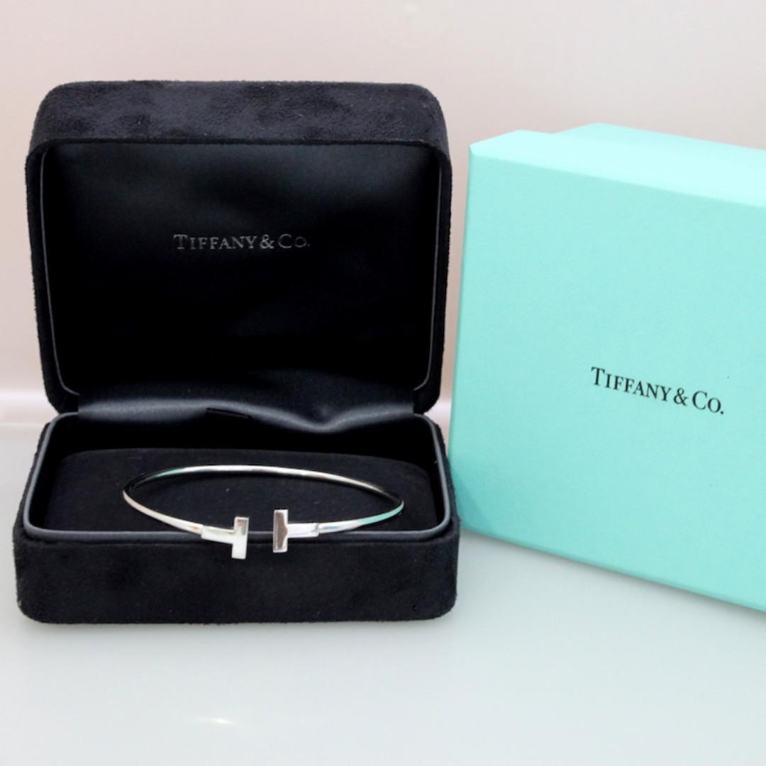 9fd2f3108 Tiffany & Co 18K White Gold T Wire Bracelet (Large Size), Luxury ...
