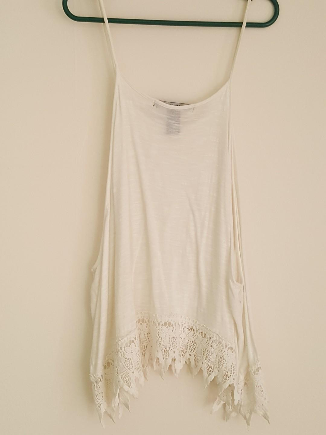 White High-Low Tank Top with Lace