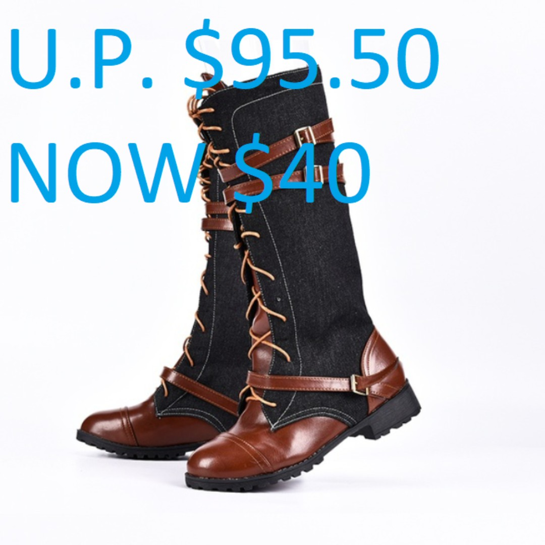 213c70a8570 Woman's Winter Fashion Lace Up Punk Martin High Boots