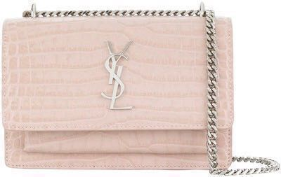 Ysl sunset chain wallet hand bag crocodile embossed 5d40e3f0aa9b3