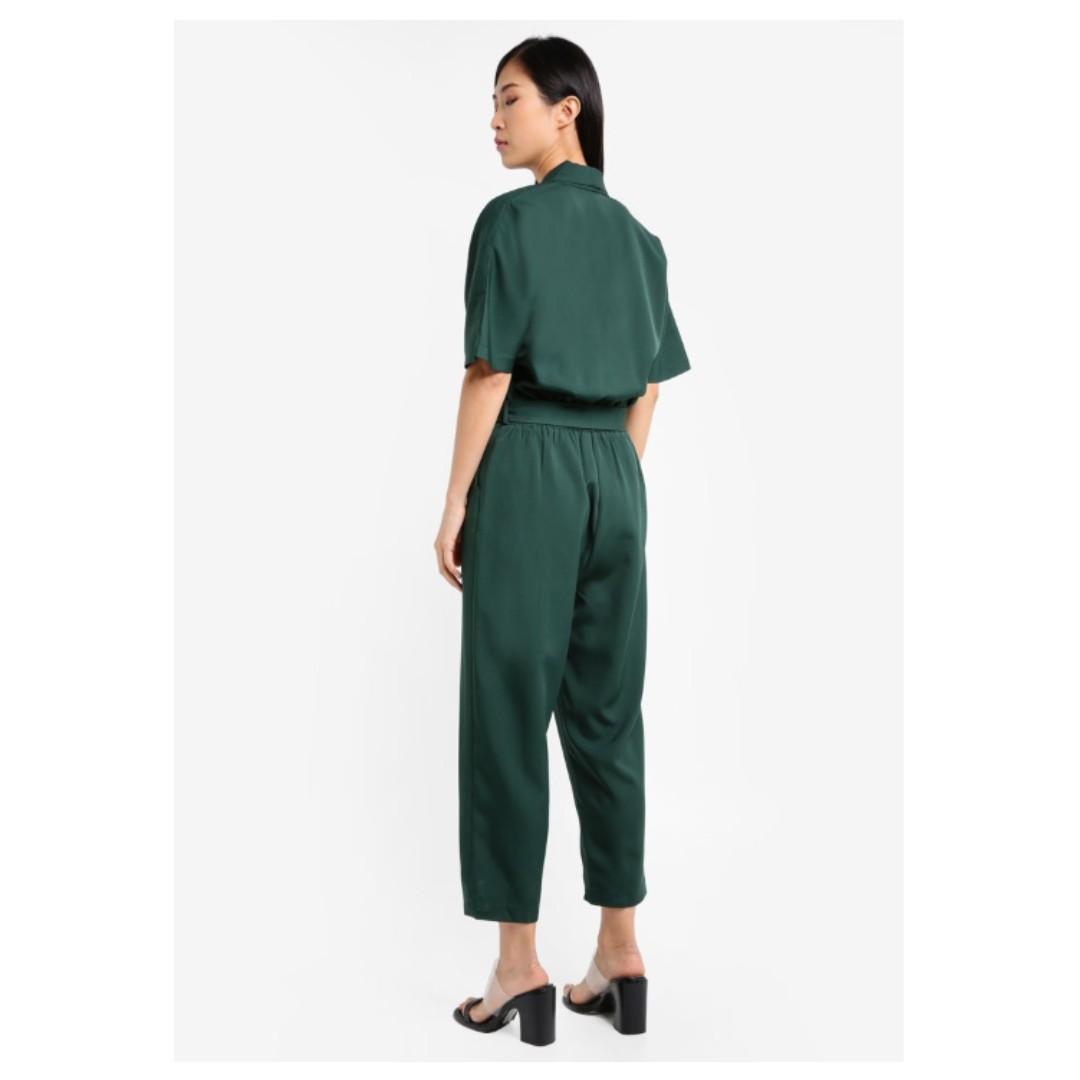 3fa9ca0491a3 ZALORA Kimono Sleeve Wrap Jumpsuit (GREEN)