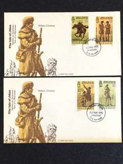 Isle of Man 1976 Bicentennial 2x FDC stamps