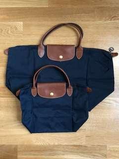 🚚 二手 Longchamp 摺疊包 海軍藍  小的和中的手提