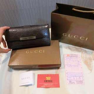 🚚 Gucci 專櫃正品 真皮經典咖啡色長夾