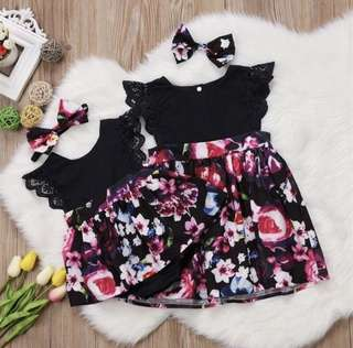 Baby Girl Black Floral Dress Big Sister Small Little Baby Sister Matching Set Lace Ruffle Romper Bow Ribbon Headband [PO]
