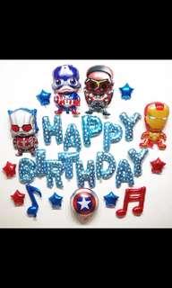 🦄 [Instock] Happy Birthday Party Balloon Sets - Avengers (Ironman, Captain America, Falcon) / Spiderman
