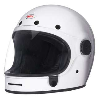 Bell Bullitt SIZE LARGE ONLY Gloss White Full Face Motorcycle Motorbike Cafe Racer Classic Retro Helmet Solid Gloss Black Spaceman Astronaut Helmet
