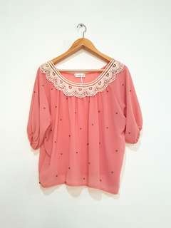 Blouse with accent pearls all size fit to L and XL