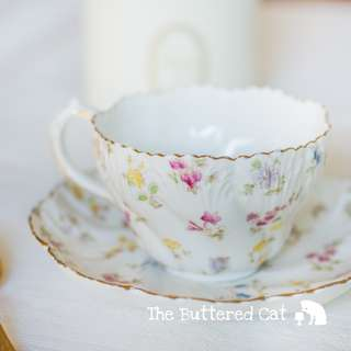 Antique hand-decorated English breakfast cup and saucer, rare large size teacup and saucer