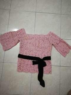 Off shoulder pink Lace top