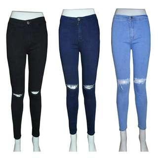 ! High Waist, Semi High Waist  Knee Ripped Jeans