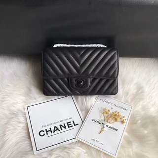 Chanel all black classic handbag