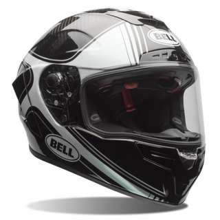 Bell Race Star SIZE MEDIUM ONLY Full Face Motorcycle Carbon Fiber Fibre Motorbike Motorcycle Helmet Tracer Gloss Black White DOT Certified