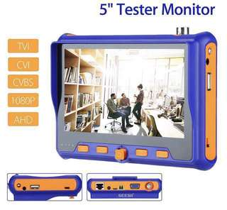 "Professional Portable CCTV Camera Tester 5""inch Monitor with HDMI/VGA/VIDEO/BNC Inputs (TVI CVI AHD CVBS PTZ RS485 LAN CABLE Camera Tester) HDMI VGA CVI Audio Control PTZ Control 5 inch LCD Screen W/BNC Cable"