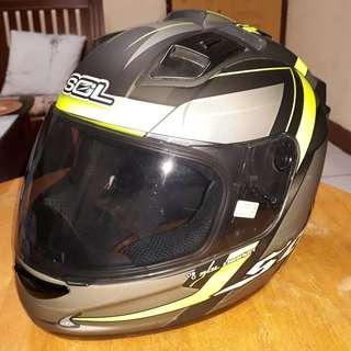 二手SOL 68S 全罩安全帽 無限INFINITY 黑灰螢光綠 全配尺寸XL 25mm