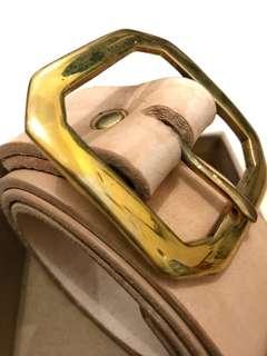 Natural Vegtan Leather Belt - Brass Buckle
