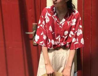 🚚 棉麻花卉襯衫