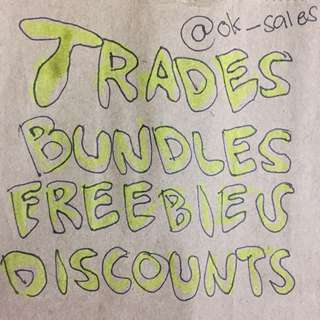 Freebies, Discounts, Trades, Bundles, Negotiable Prices 😁