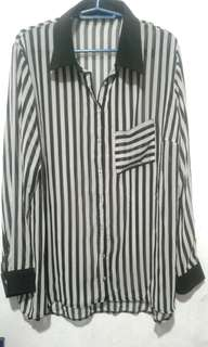 Black and White stripe Polo