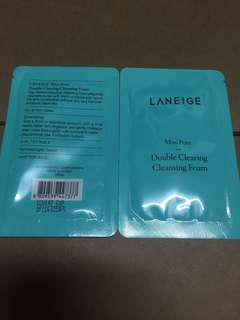(2包$5包郵) Laneige mini Pore double cleansing foam 4ml x 2