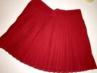 Red Pleated Skort / Skirt with Shorts