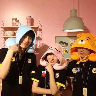 Kakao Friends可愛動漫針織棉布帽子U型枕卡通旅行枕頸枕脖枕帶帽