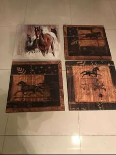 canvas print 4 set HORSE reprice 230 take all