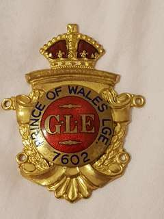 "Nice huge beautiful brass with enamel belt or sash badge titled "" Prince of Wales L.G.E. 7602 ."