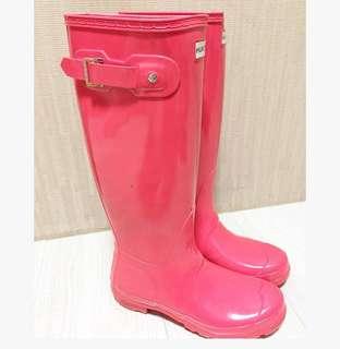 🚚 英國購入HUNTER桃紅色馬靴#全新都沒穿過有鞋底照可以證明喔