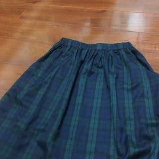🚚 私物 復古藍綠格子口袋長裙