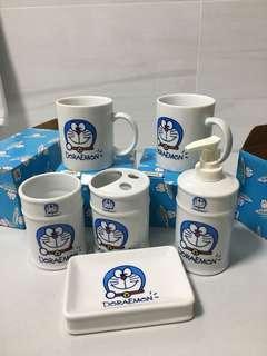Doraemon mugs and bath set (pump bottle,soap dish)