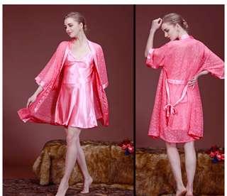 Piyama kimono baju tidur dengan dress dalaman