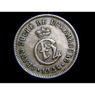 1924年盧森堡(Luxembourg)女大公夏洛特徽號10仙鎳幣