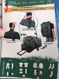 Zip off wheeled duffel bag