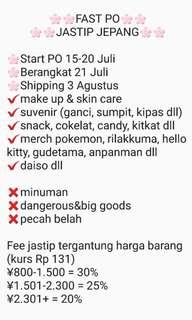 FAST PO JEPANG KitKat, skincare, suvenir dll
