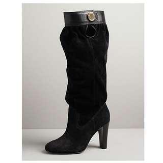 MICHAEL KORS Womens Black suede mid calf harness boot 7 US