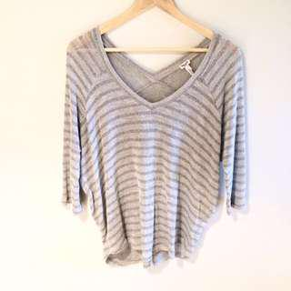 SPLENDID grey with silver accents V neck sweater