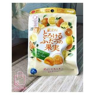 🚚 慶開幕《日本快速代購》明治 mejI 雙口味果汁QQ軟糖 52g 柑橘與檸檬