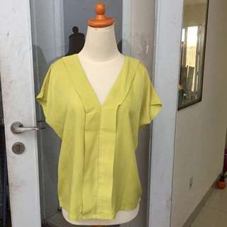 Lime yellow blouse atasan adem