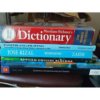 Merriam webster dictionary, Jose Rizal, and other academic books